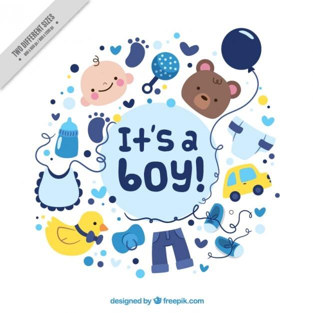 Cartão bonito do chuveiro de bebê com desenhos agradáveis Vetor grátis