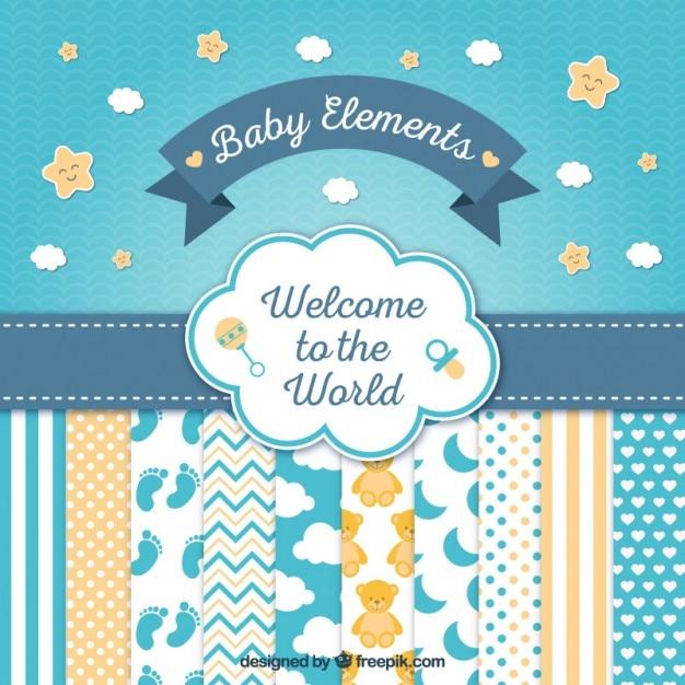 Cartão bonito do chuveiro de bebê com elementos agradáveis Vetor grátis