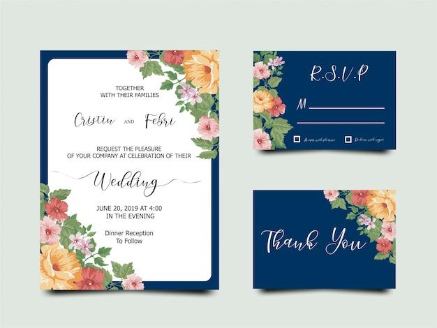 Cartão bonito do convite do casamento da flor Vetor Premium