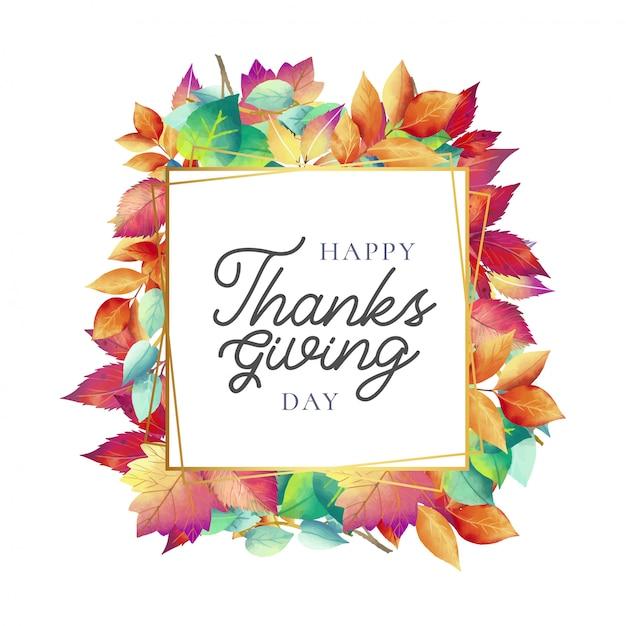 Cartão bonito do dia de ação de graças com folhas de outono Vetor grátis