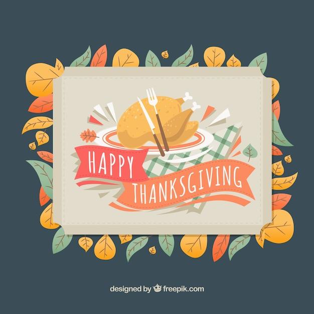 Cartão bonito do jantar de thanksgiving Vetor grátis