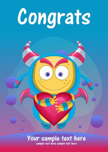 Cartão bonito dos congrats do monstro Vetor Premium