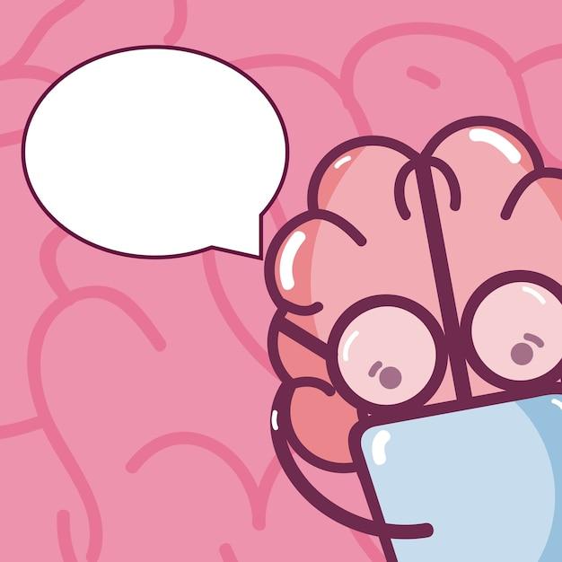 Cartão bonito dos desenhos animados do cérebro Vetor Premium