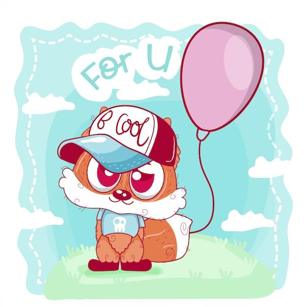 Cartão bonito dos desenhos animados raposa Vetor Premium