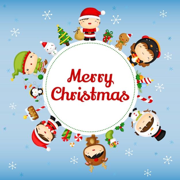 Cartão bonito dos miúdos do natal Vetor Premium