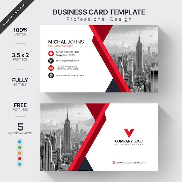 Cartão branco com detalhes vermelhos Vetor grátis