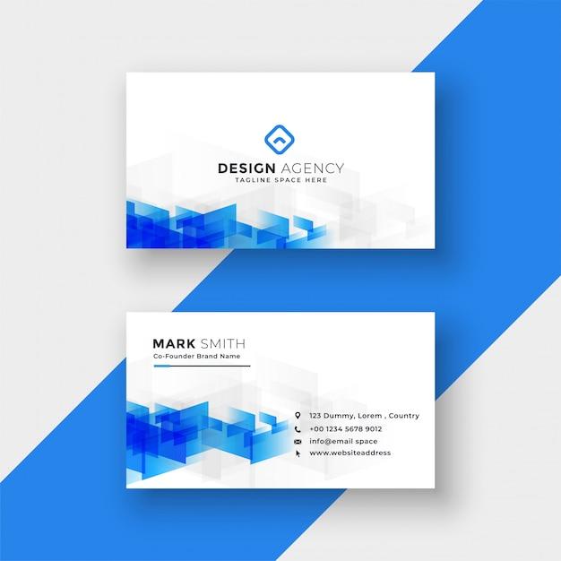 Cartão branco com formas azuis abstratas Vetor grátis