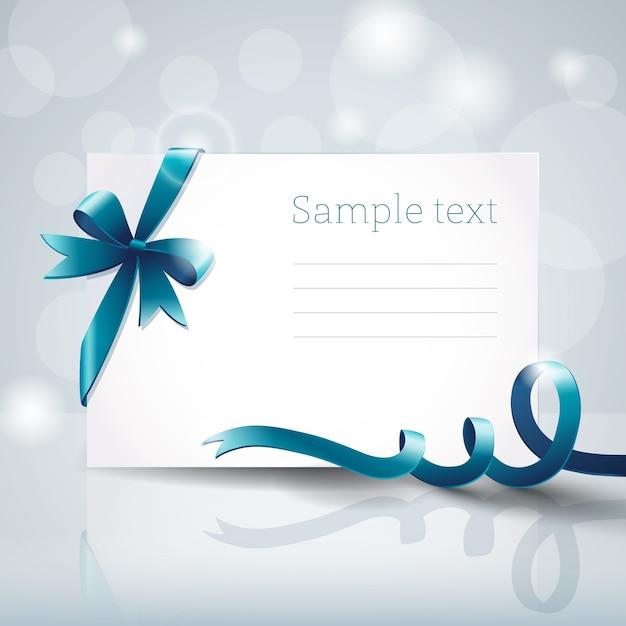 Cartão branco em branco com laço de fita azul Vetor grátis