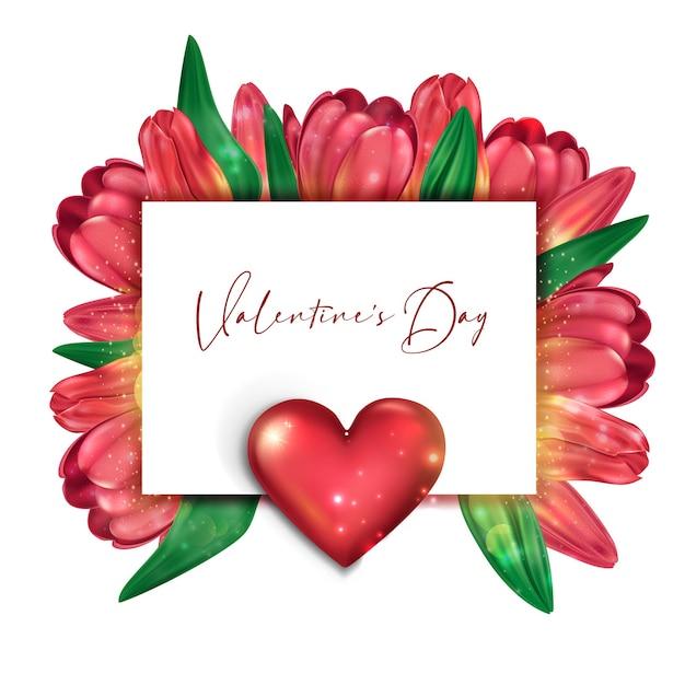 Cartão brilhante de delicadas tulipas para o dia dos namorados Vetor Premium