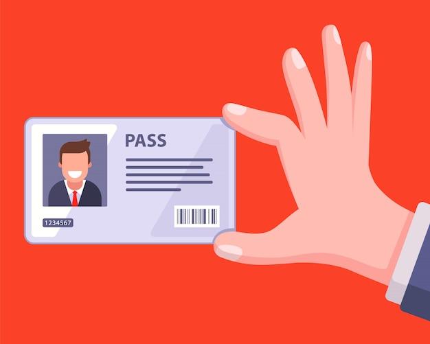 Cartão-chave pessoal para o funcionário entrar no escritório. Vetor Premium