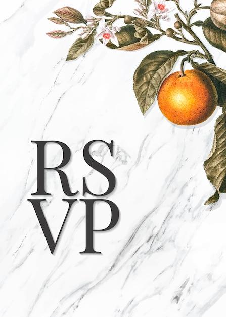 Cartão citrus rsvp Vetor grátis