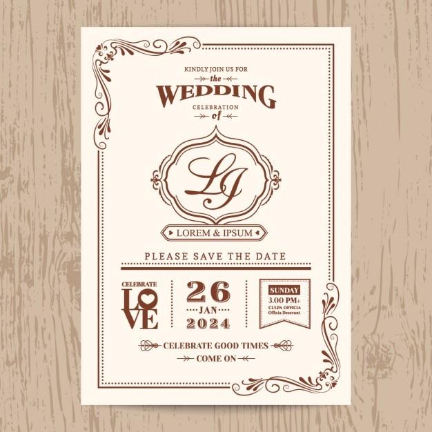 cartão clássico convite de casamento do vintage com borda de cor ...
