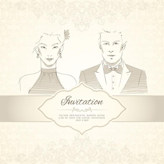 Cartão clássico do convite do casamento com ilustração vetorial dos retratos do homem e da mulher Vetor grátis