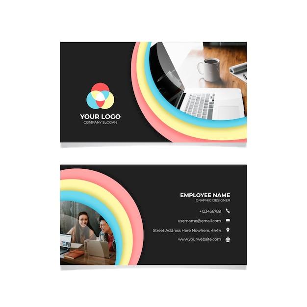 Cartão colorido com foto Vetor grátis