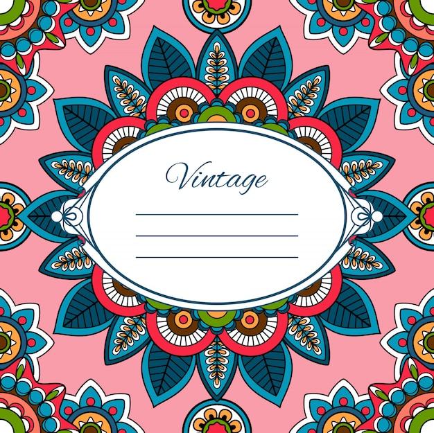 Cartão colorido estilo boho Vetor Premium