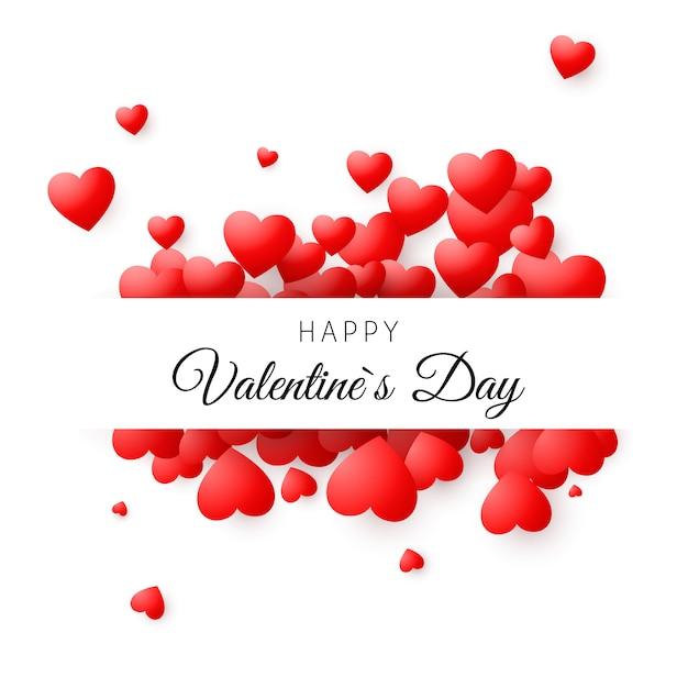 Cartão colorido - feliz dia dos namorados. conceito de cartão romântico. fundo do dia dos namorados Vetor Premium