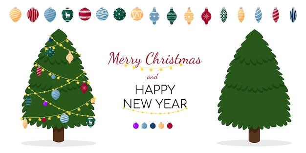 Cartão com árvores de natal Vetor Premium