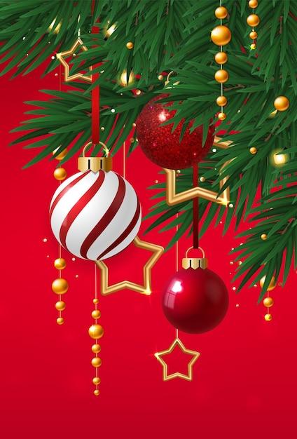 Cartão com bolas e estrelas de natal Vetor Premium