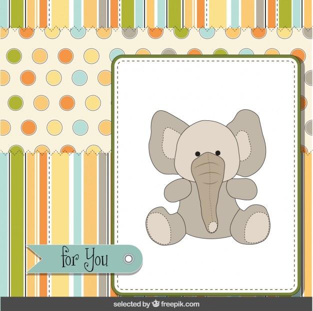 Cartão com bonito elefante Vetor grátis