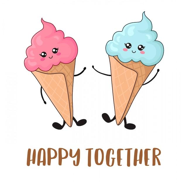 Cartão com cuple de kawaii rosa sorvetes com azul e rosa Vetor Premium