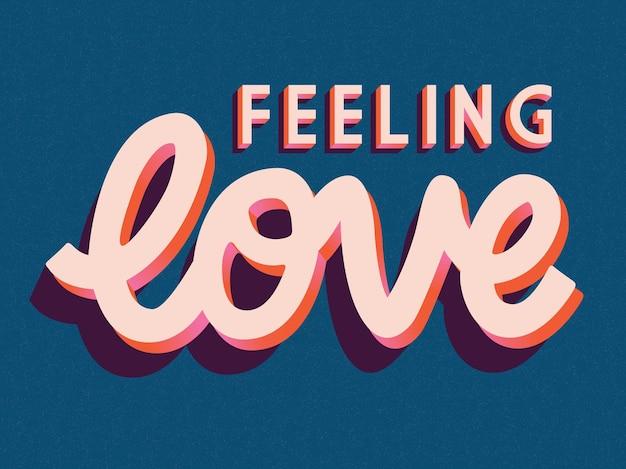 Cartão com feliz dia dos namorados mão lettering design. mão colorida ilustrações desenhadas com tipografia. Vetor Premium