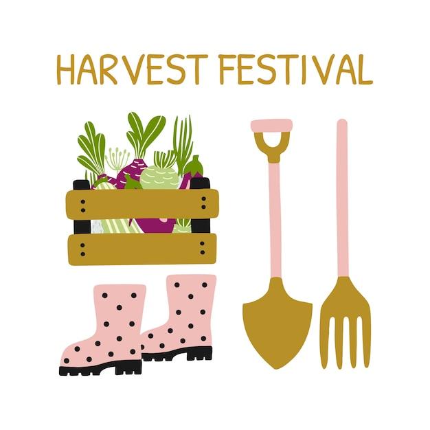 Cartão com ferramentas de jardinagem, festival da colheita. Vetor Premium