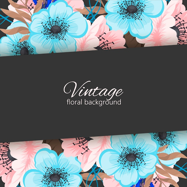 Cartão com flores, aquarela. quadro de vetor Vetor Premium