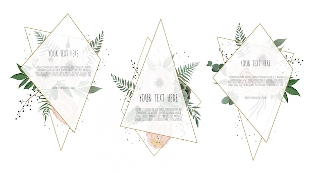 Cartão com flores de folhas e moldura geométrica. Vetor Premium