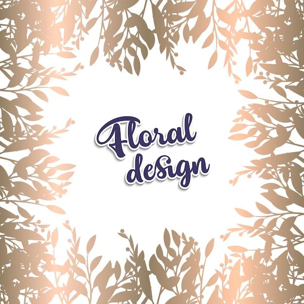 Cartão com folhas douradas Vetor grátis