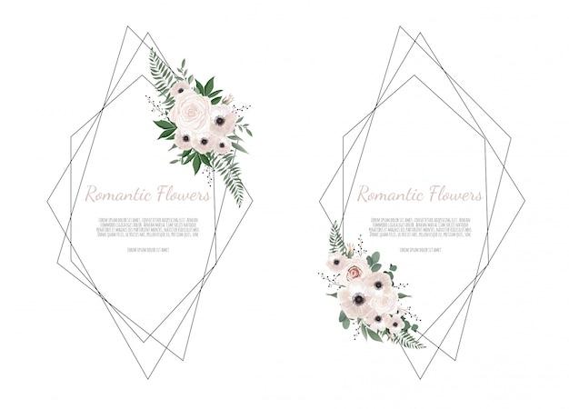 Cartão com folhas e moldura geométrica Vetor Premium