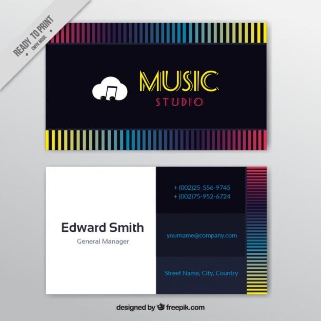 Cartão com linhas coloridas para um estúdio de música Vetor grátis