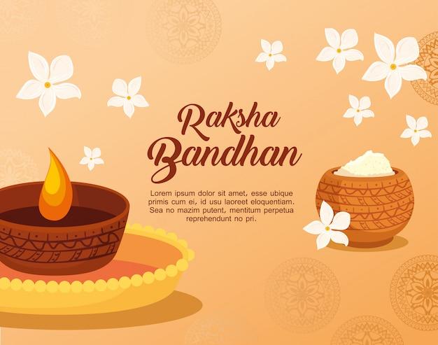 Cartão com luz de vela decorativa e pó sagrado para raksha bandhan, festival indiano para celebração de ligação de irmão e irmã Vetor Premium
