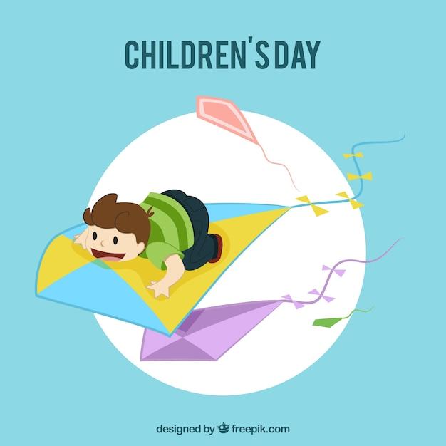 Cartão com menino voando em uma pipa Vetor grátis