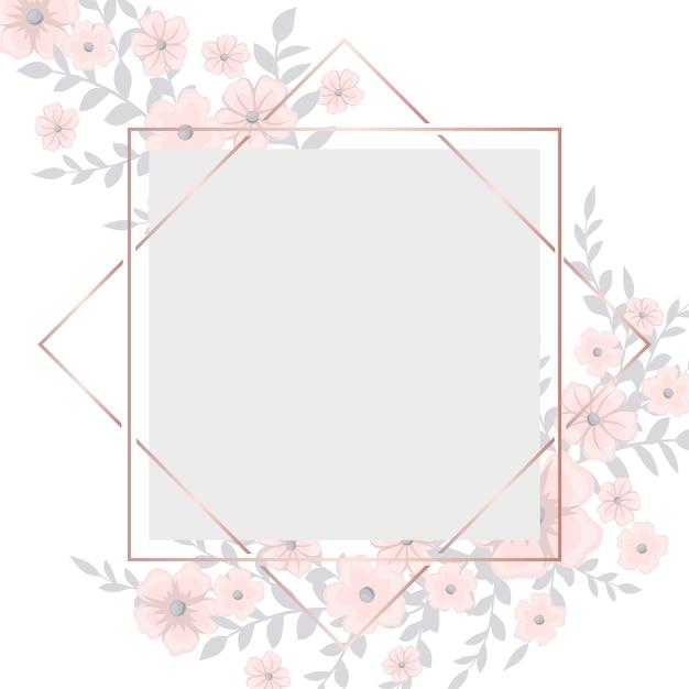Cartão com moldura de luz rosa flores Vetor grátis