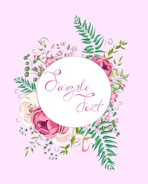 Cartão com rosas pode ser usado como cartão de convite para casamento Vetor Premium