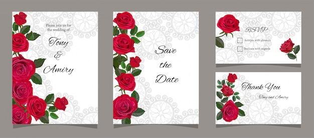 Cartão, com, rosas vermelhas Vetor Premium