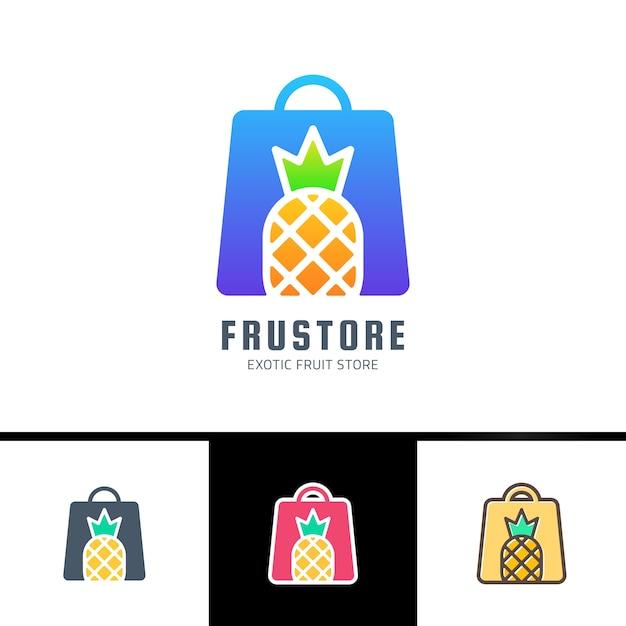 Cartão com saco de mulher decorado com tiras e abacaxi isolado no fundo branco Vetor Premium