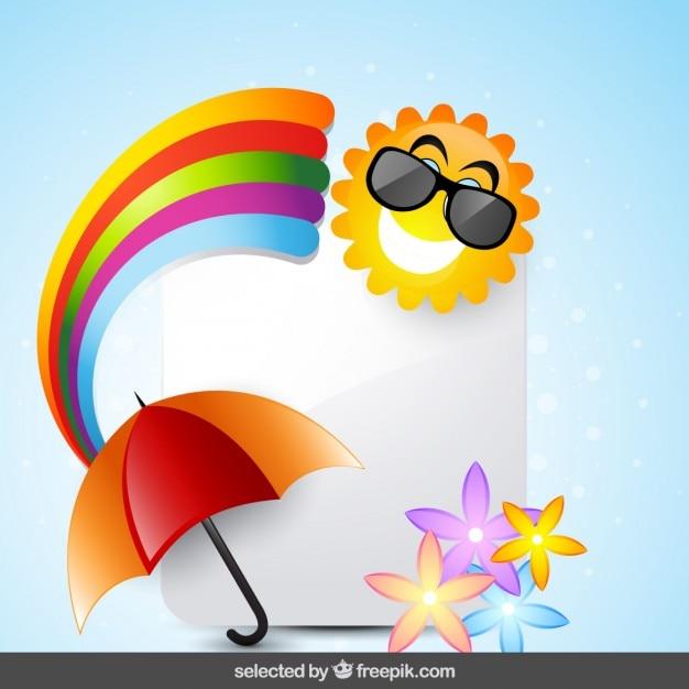 Cartão com sol, arco íris, guarda-chuva e flores Vetor grátis