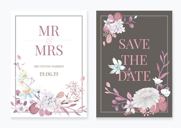 Cartão com tema floral Vetor grátis