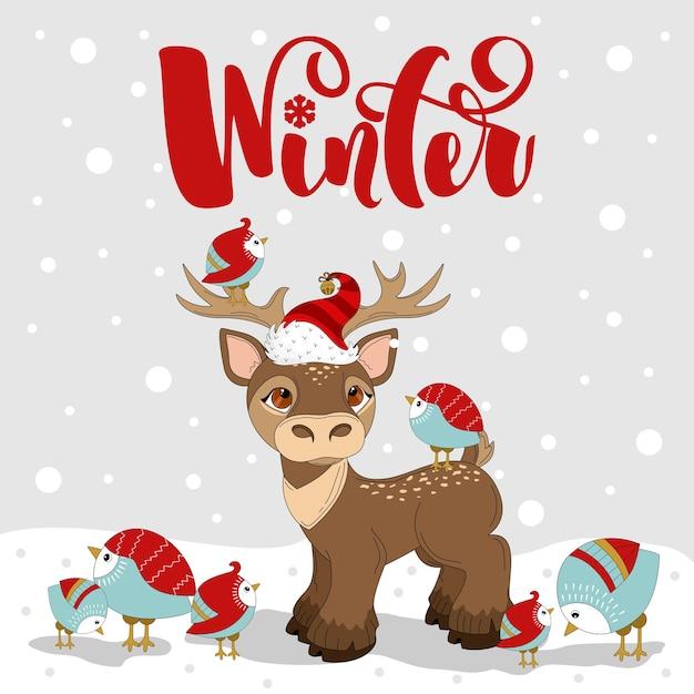Cartão com veado de natal. letras de mão desenhada de feliz natal. impressão em tecido, papel, cartões postais, convites. Vetor Premium