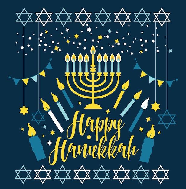 Cartão comemorativo de hanukkah no feriado judaico - símbolos tradicionais de chanucá Vetor Premium