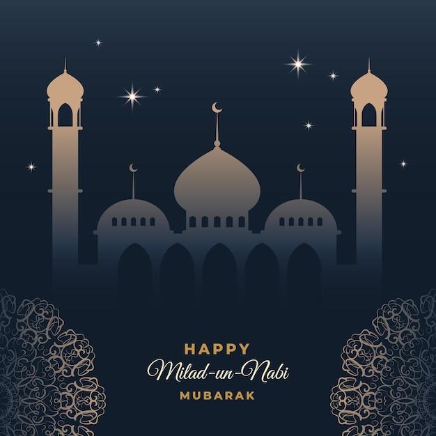 Cartão comemorativo milad-un-nabi céu acima da mesquita Vetor grátis