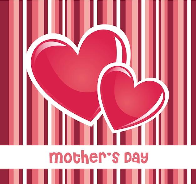 Cartão cor-de-rosa do dia de mães Vetor Premium
