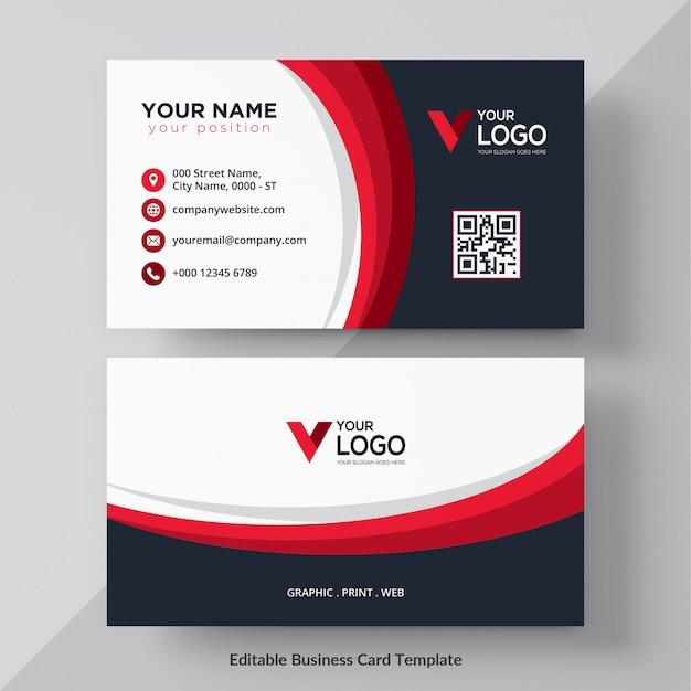 Cartão corporativo vermelho e preto ondulado Vetor Premium