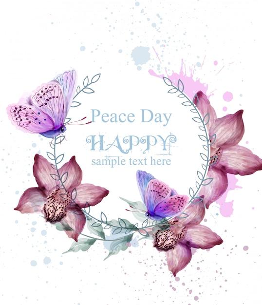 Cartão da aguarela das flores e das borboletas da Vetor Premium