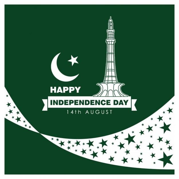 Cartão da celebração do dia da independência do paquistão ilustração vector Vetor grátis