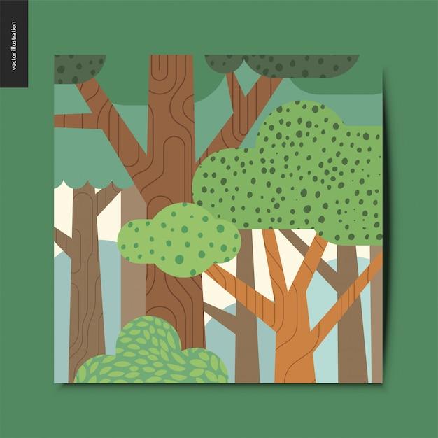 Cartão da floresta Vetor Premium