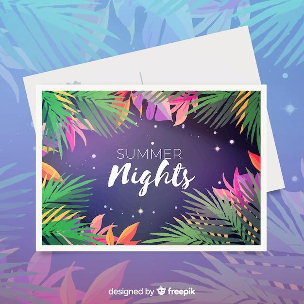 Cartão das férias de verão da aguarela Vetor grátis