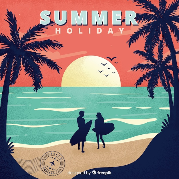 Cartão das férias de verão do vintage Vetor grátis