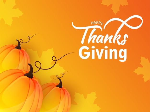 Cartão de ação de graças feliz ou cartaz com abóboras em bordo laranja folhas. Vetor Premium
